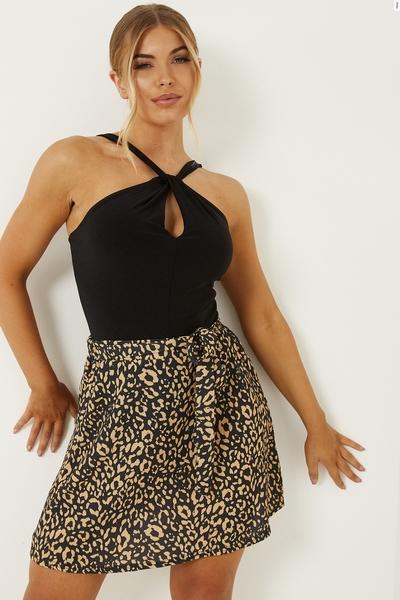 Petite Tan Leopard Print Mini Skirt